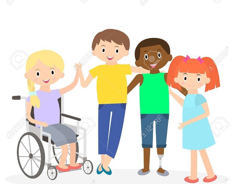 рисунка на деца с и без увреждане хванати за ръце