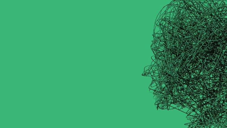 човешка глава направена от железни стърготини