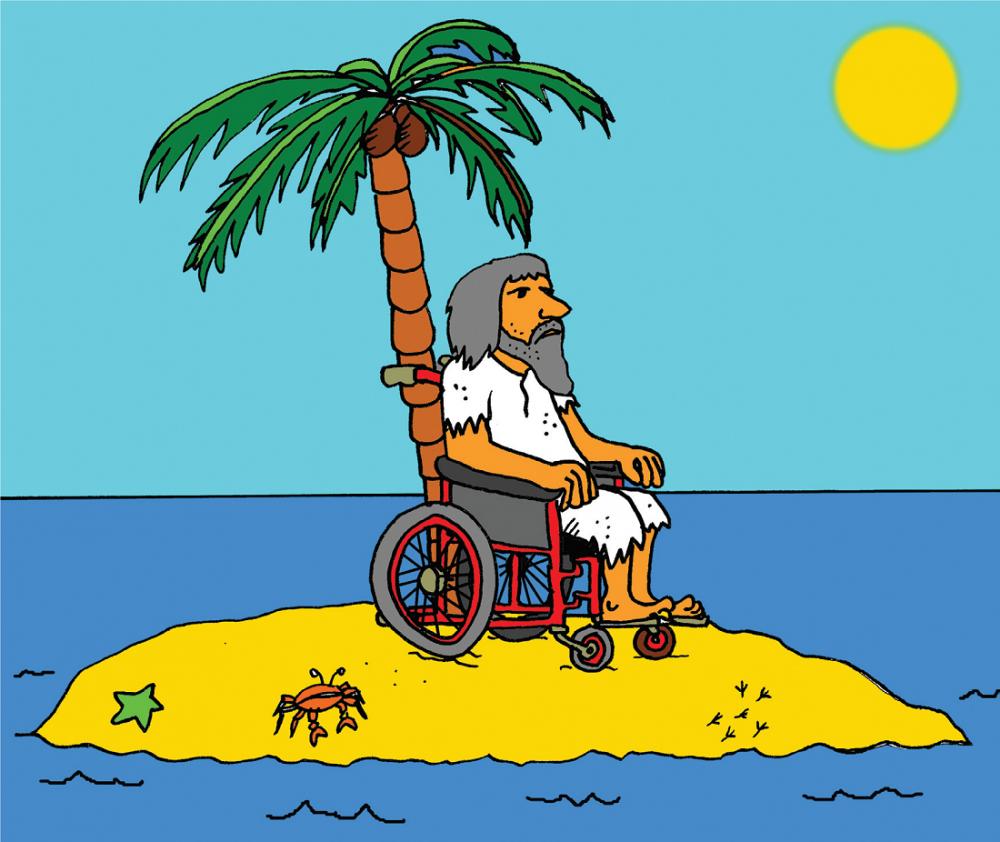 корабокрушенец в инвалидна количка на самотен остров